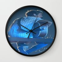 niall horan Wall Clocks featuring Niall Horan 3 by Halle