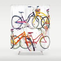 bikes Shower Curtains featuring bikes by takmaj