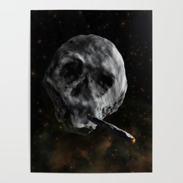 Skull Asteroid with Astro Blunt , Infinite Plane Society Poster