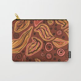 Doodle leaves and polka dots - oranges and pinks on brown Carry-All Pouch