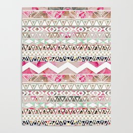 Aztec Spring Time! | Girly Pink White Floral Abstract Aztec Pattern Poster