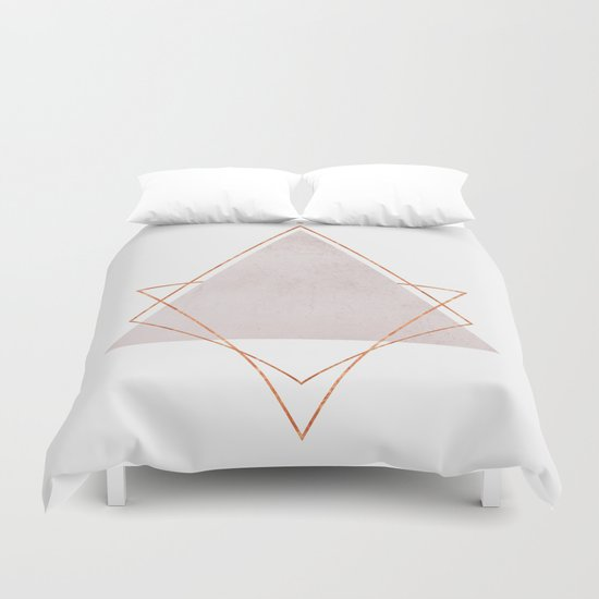Blush Copper Rose Gold Geometric Syndrome Duvet Cover By Marilenaxiari Society6