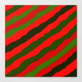 Merry Red Green Holiday Stripes Canvas Print