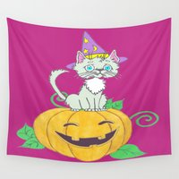 wizard Wall Tapestries featuring Halloween Wizard Cat by J&C Creations
