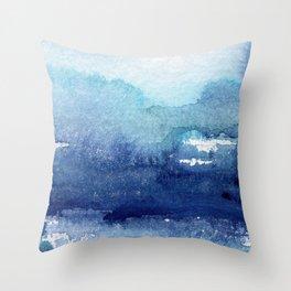 Blue Watercolour Ocean Throw Pillow