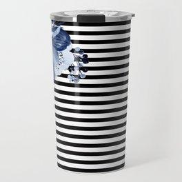 Blue Boho Flowers and Stripes Travel Mug