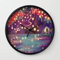 lanterns Wall Clocks featuring Lanterns by Jadie Miller