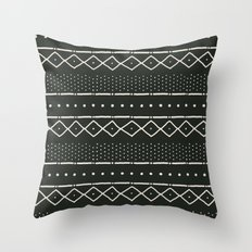 Mudcloth in bone on black Throw Pillow