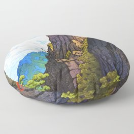 Kawase Hasui - The Eight Views Of Korea, Samburam Rock, Kumgang Mountain Floor Pillow