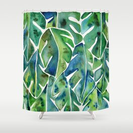 Split Leaf Philodendron – Green Shower Curtain