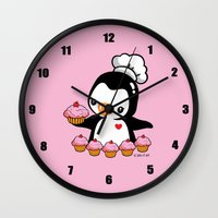 cooking Wall Clocks featuring Cooking Penguin by joanfriends