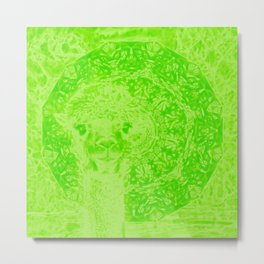 Ghostly alpaca and mandala in Green Flash Metal Print