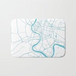 Bangkok Thailand Minimal Street Map - Turquoise and White II Bath Mat