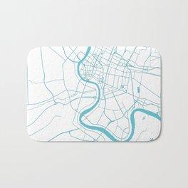 Bangkok Thailand Minimal Street Map - Turquoise and White II Bath Mat