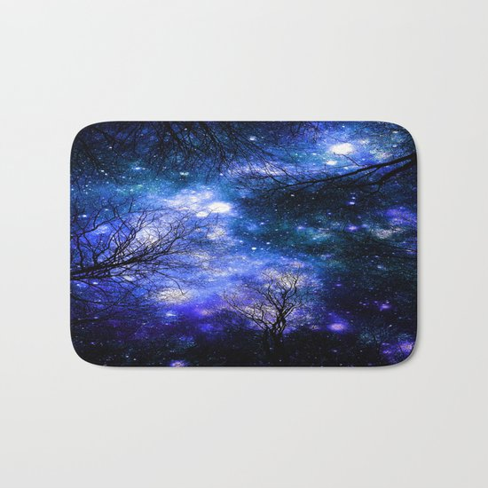 Black Trees Indigo Blue Teal Green Space Bath Mat