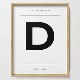 Dallas Initial and Coordinates Serving Tray