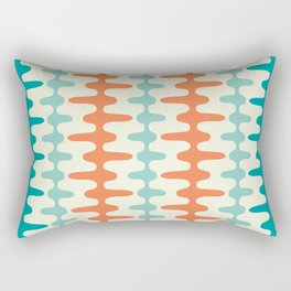 Retro Mid Century Modern Trellis Print Orange and Teal Rectangular Pillow