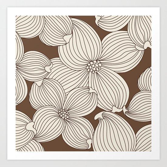 Dogwood Big Linear: Brown Cream Art Print