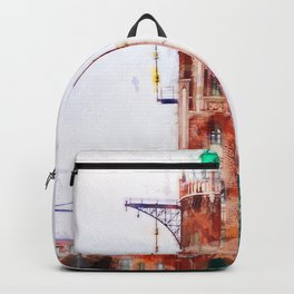 The old lighthouse and modern architecture Backpack