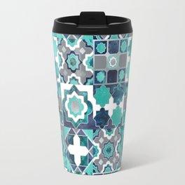 Spanish moroccan tiles inspiration // turquoise green silver lines Travel Mug
