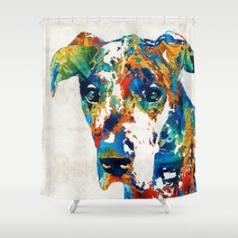 Colorful Great Dane Art Dog By Sharon Cummings Shower Curtain
