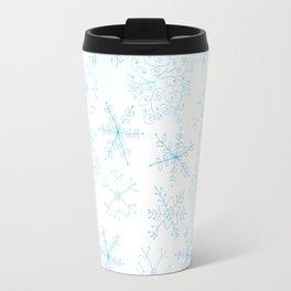 Merry Christmas- Blue Snowflakes white pattern Travel Mug