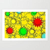 yellow pattern Art Prints featuring Yellow pattern  by Vivian Fortunato