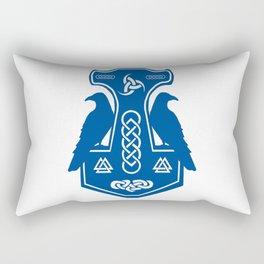 Blue Thor's Hammer With Ravens Rectangular Pillow