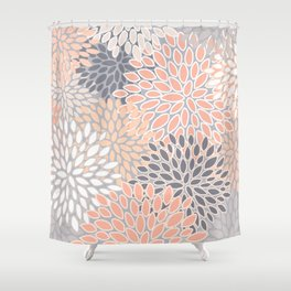 Flowers Abstract Print, Coral, Peach, Gray Shower Curtain