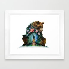 Flower & Bear Framed Art Print