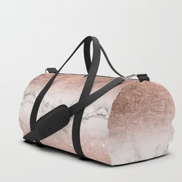 Modern faux rose gold glitter and foil ombre gradient on white marble color block Duffle Bag