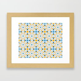 yellow, blue mosaic pattern, colorful abstract oriental pattern Framed Art Print