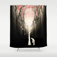 cityscape Shower Curtains featuring Revenge of the nature II: growing red forest above the city. by Rafapasta