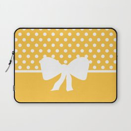 Dots dip-dye pattern with cute bow in yellow Laptop Sleeve