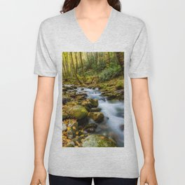 Picture USA Great Smoky Mountains Autumn Stream Nature park forest Moss Stones Creek brook Creeks Streams Parks Forests stone Unisex V-Neck