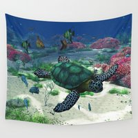 sea turtle Wall Tapestries featuring Sea Turtle by Simone Gatterwe