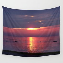 Holes in the Clouds, sunset on the water Wall Tapestry