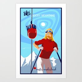 Retro ski Rocky Mountain poster Art Print