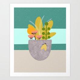 Succulent Garden with Moth Art Print