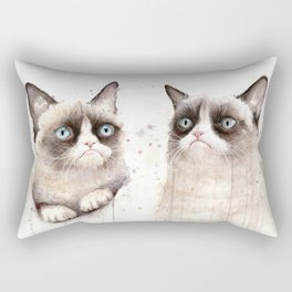 Grumpy Watercolor Cats Rectangular Pillow