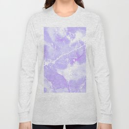 Modern abstract blush violet white marble pattern Long Sleeve T-shirt