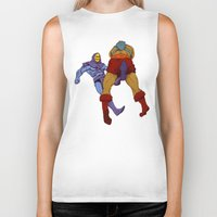 skeletor Biker Tanks featuring skeletor kick by Toni Caputo