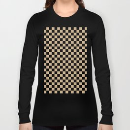 Black and Tan Brown Checkerboard Long Sleeve T-shirt