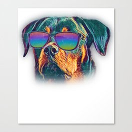 Rottweiler Colorful Neon Dog Sunglasses Canvas Print