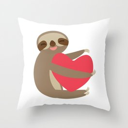Funny sloth with a red heart Throw Pillow