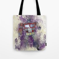 optimus prime Tote Bags featuring G1 - Optimus Prime by DesignLawrence