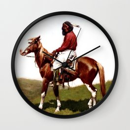 """Western Art """"Comanche Brave"""" by Frederic Remington Wall Clock"""