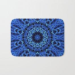 Blue Nature Mandala  Psychedelic Pattern Bath Mat