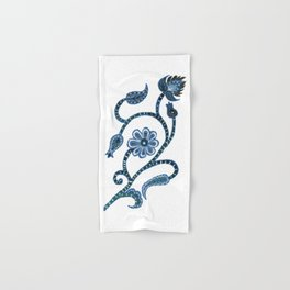 Blue Paisley Doodle-right facing Hand & Bath Towel