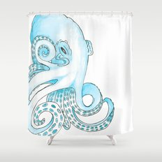 Blue Pen and Watercolor Octopus Shower Curtain